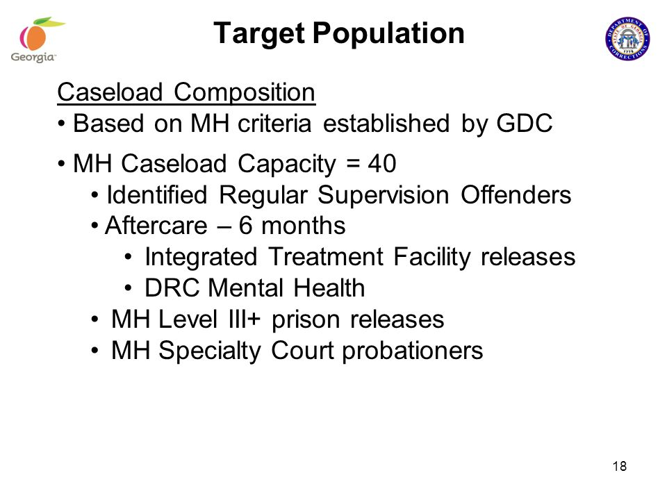 18 Target Population Caseload Composition Based on MH criteria established by GDC MH Caseload Capacity = 40 Identified Regular Supervision Offenders A