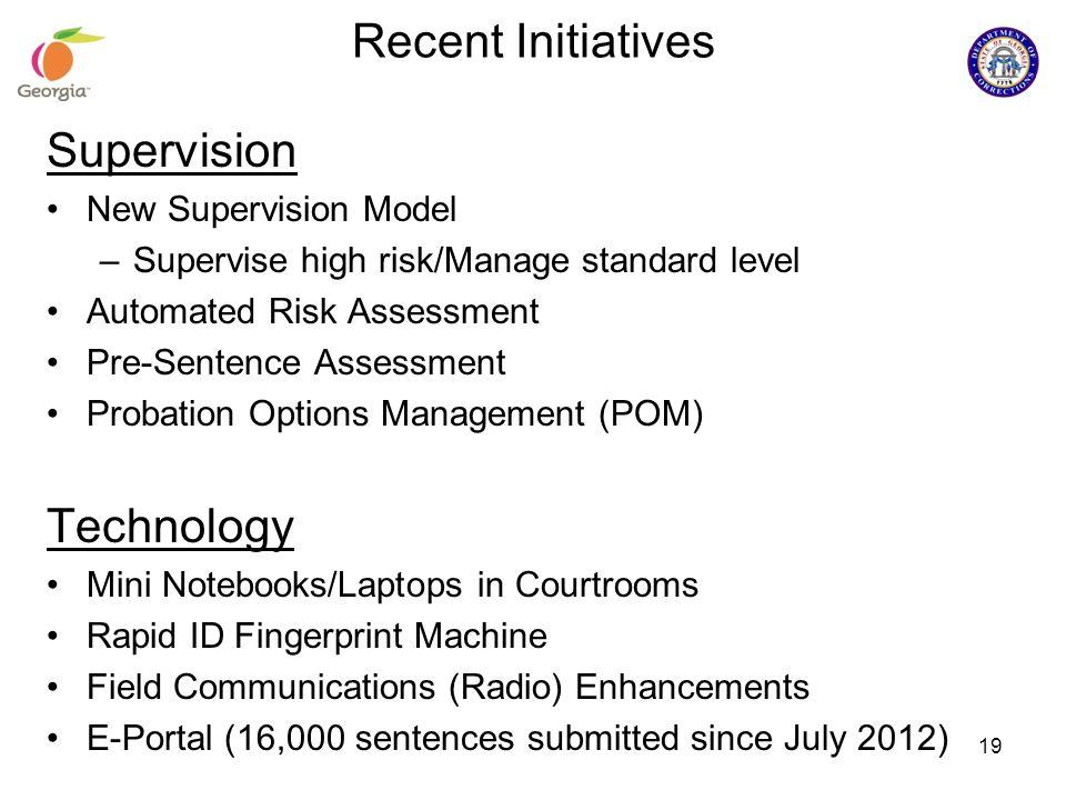 Recent Initiatives Supervision New Supervision Model –Supervise high risk/Manage standard level Automated Risk Assessment Pre-Sentence Assessment Prob
