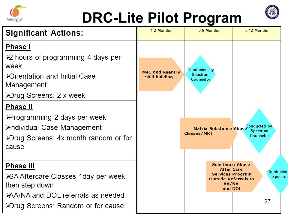 DRC-Lite Pilot Program 1-2 Months3-6 Months6-12 Months Significant Actions: Phase I  2 hours of programming 4 days per week  Orientation and Initial