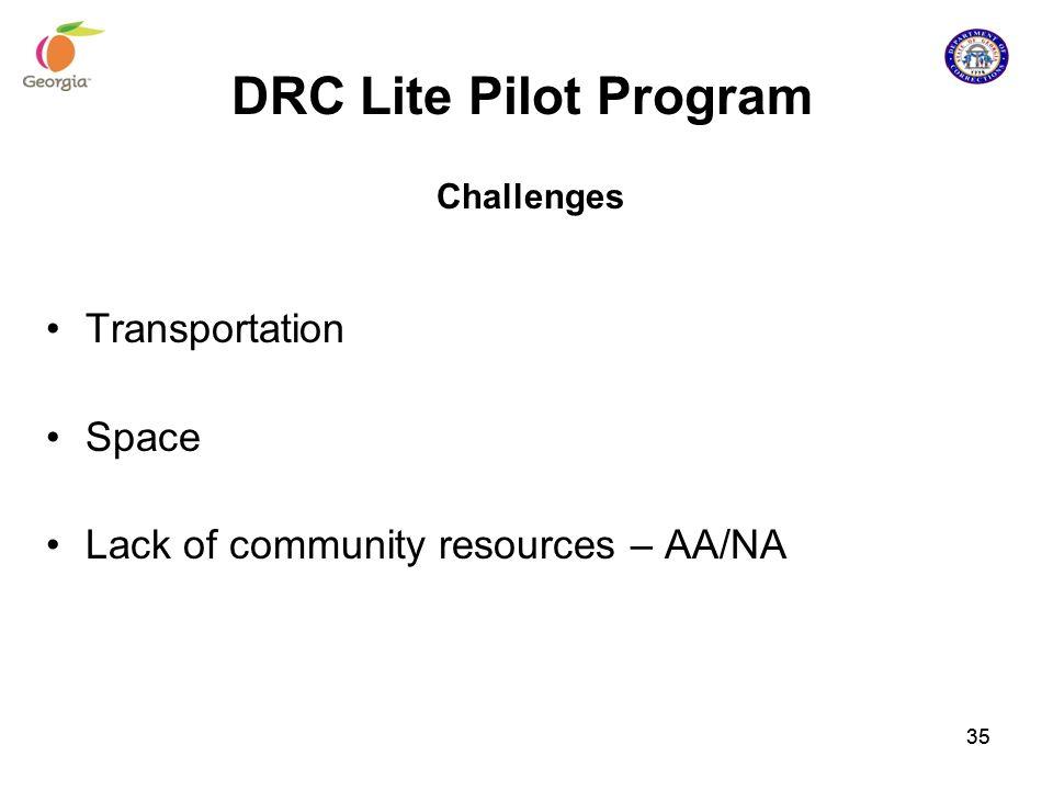 DRC Lite Pilot Program Challenges Transportation Space Lack of community resources – AA/NA 35