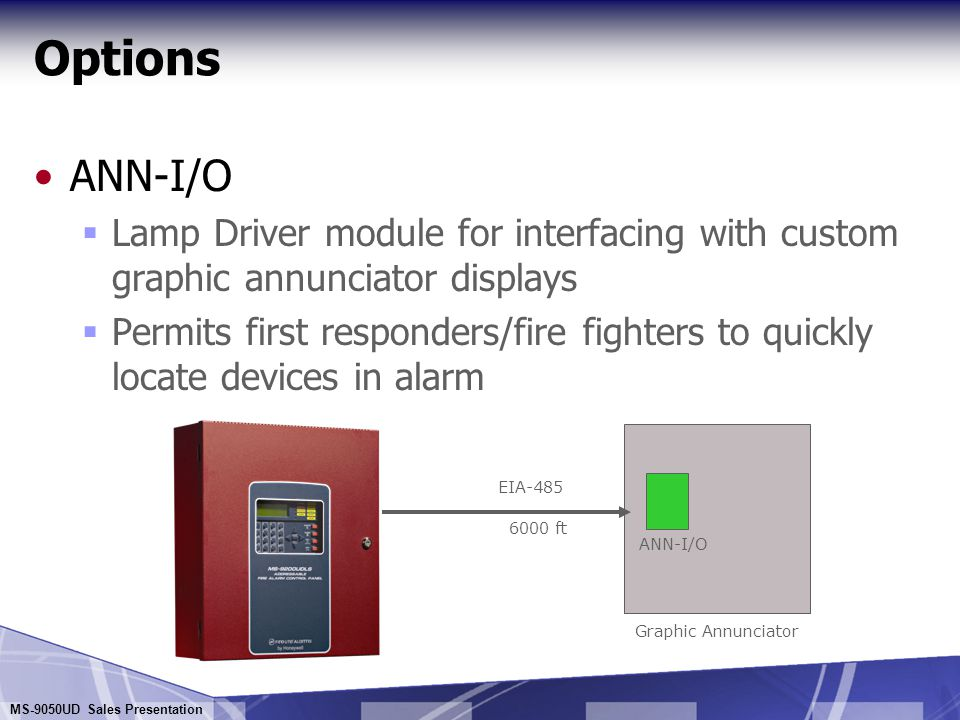 MS-9050UD Sales Presentation Options ANN-80 Remote Annunciator Liquid Crystal Display  80-Character Display (4 lines 20 characters each) Provides complete event description  Maximum of 8 per system, 6,000 feet max between each Permits remote displays at convenient building locations  Switches for the remote execution of Acknowledge, Alarm Silence, Reset and Drill functions Permits system control from remote location  Access controlled by key switch Prohibits unauthorized operation