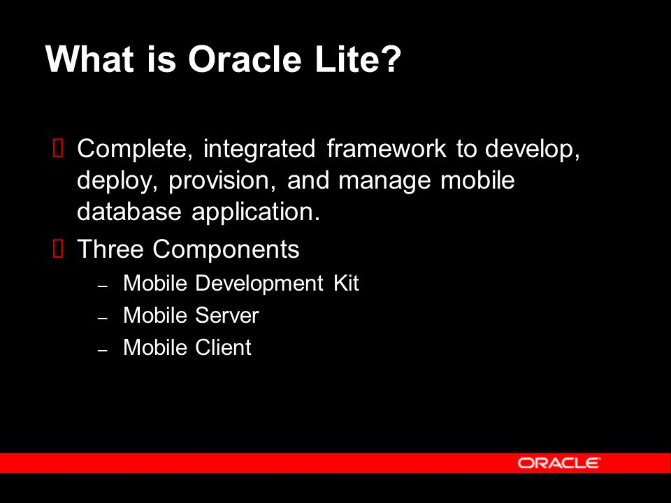 Oracle Lite Synchronization Manager