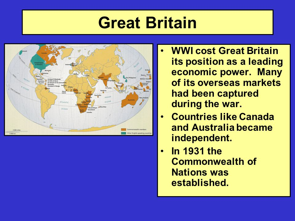 Great Britain WWI cost Great Britain its position as a leading economic power.