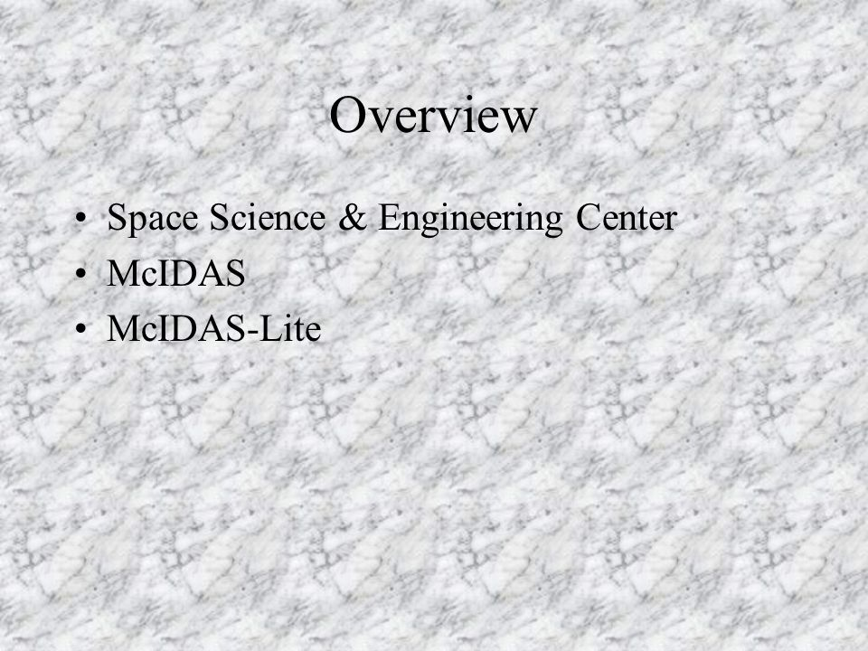 McIDAS-Lite Client/server system Local data Remote data –ADDE [Abstract Data Distribution Environment] –TCP/IP –Subsecting and sampling –Compression