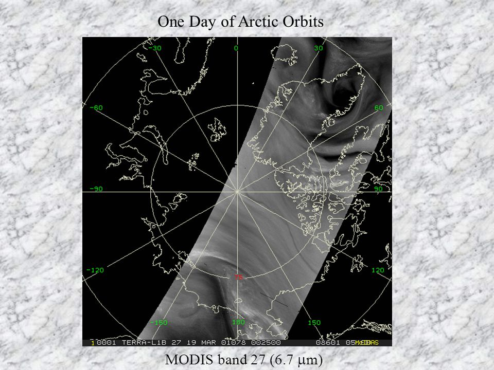 One Day of Arctic Orbits MODIS band 27 (6.7  m)