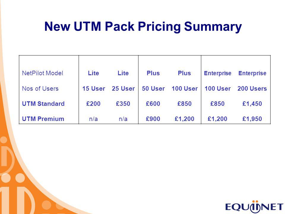 New UTM Pack Pricing Summary NetPilot ModelLite Plus Enterprise Nos of Users 15 User25 User50 User100 User 200 Users UTM Standard£200£350£600£850 £1,4