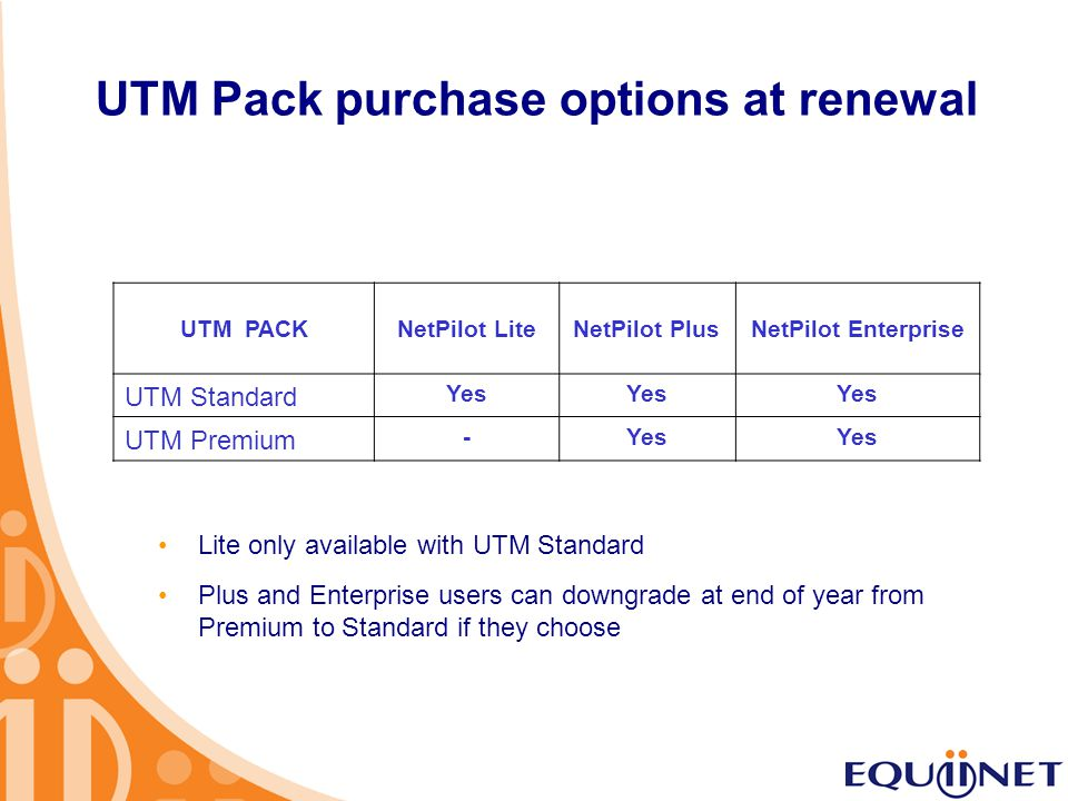 UTM Pack purchase options at renewal UTM PACKNetPilot LiteNetPilot PlusNetPilot Enterprise UTM Standard Yes UTM Premium -Yes Lite only available with UTM Standard Plus and Enterprise users can downgrade at end of year from Premium to Standard if they choose