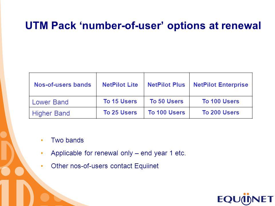 UTM Pack 'number-of-user' options at renewal Nos-of-users bandsNetPilot LiteNetPilot PlusNetPilot Enterprise Lower Band To 15 UsersTo 50 UsersTo 100 U