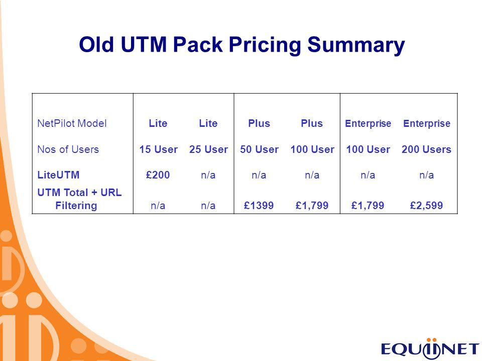 Old UTM Pack Pricing Summary NetPilot ModelLite Plus Enterprise Nos of Users 15 User25 User50 User100 User 200 Users LiteUTM£200n/a UTM Total + URL Fi