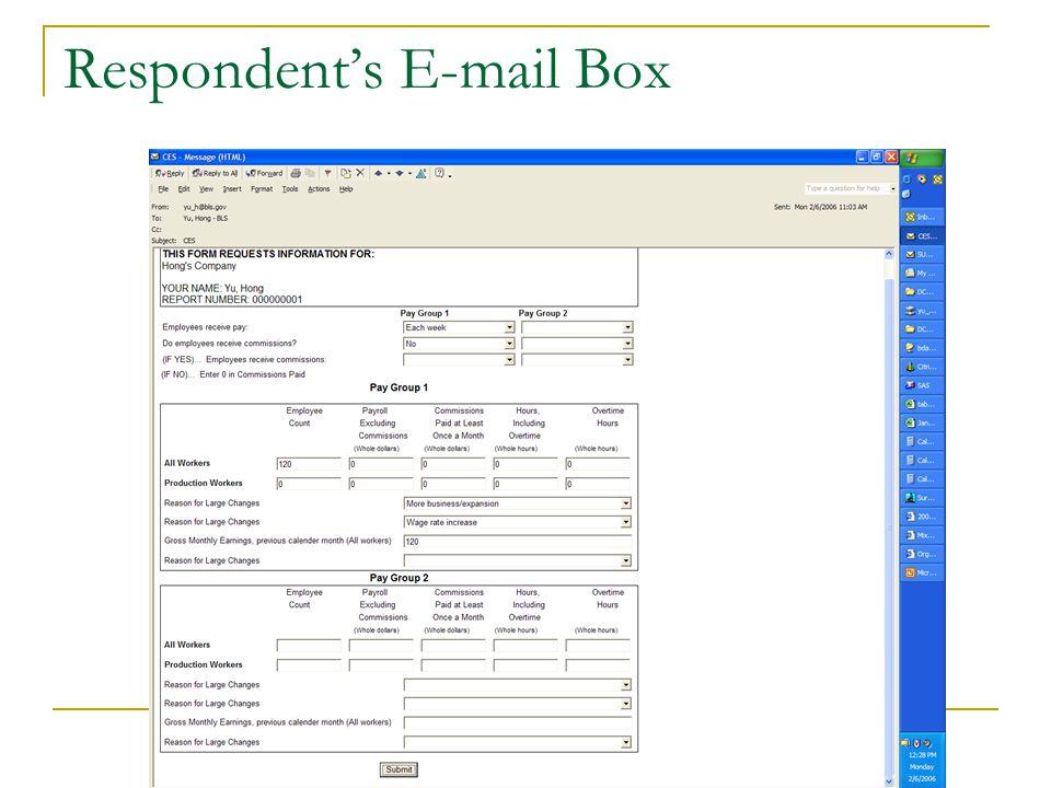 Respondent's E-mail Box