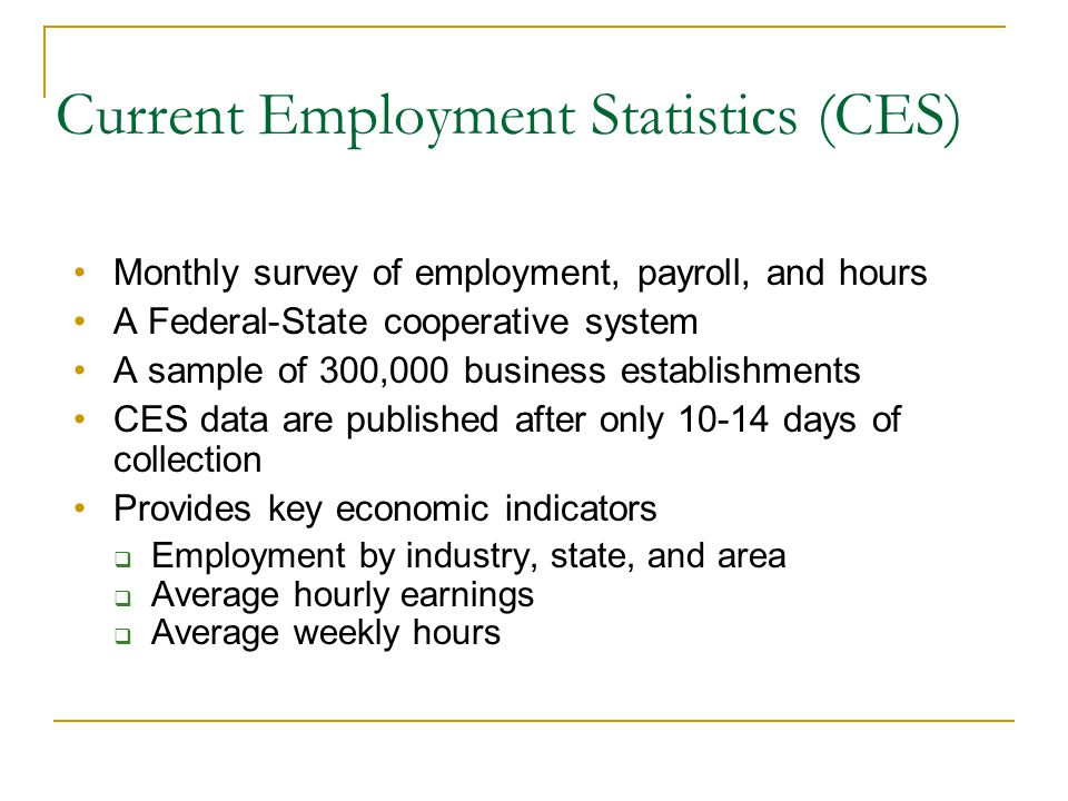 Current Employment Statistics (CES) Monthly survey of employment, payroll, and hours A Federal-State cooperative system A sample of 300,000 business establishments CES data are published after only 10-14 days of collection Provides key economic indicators  Employment by industry, state, and area  Average hourly earnings  Average weekly hours