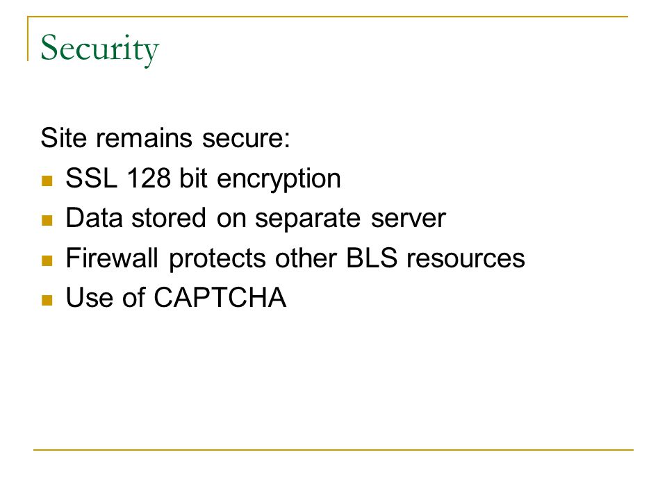 Security Site remains secure: SSL 128 bit encryption Data stored on separate server Firewall protects other BLS resources Use of CAPTCHA