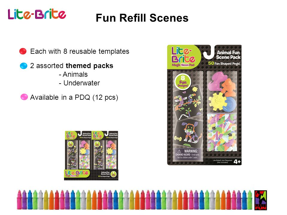 Fun Refill Scenes Each with 8 reusable templates 2 assorted themed packs - Animals - Underwater Available in a PDQ (12 pcs)