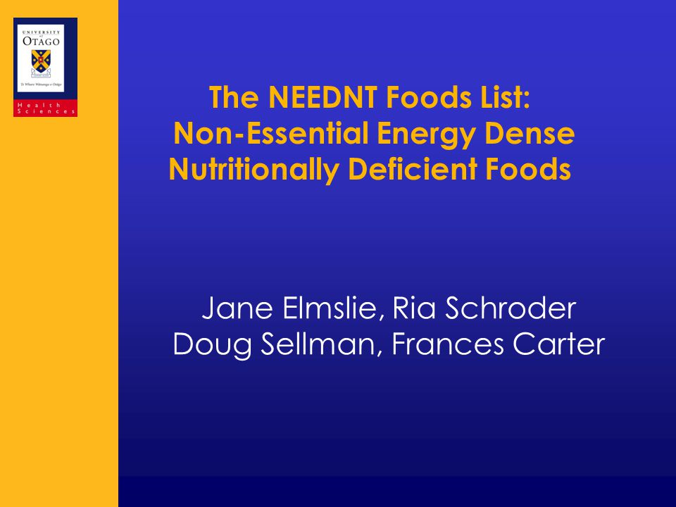 What is the NEEDNT Foods List.