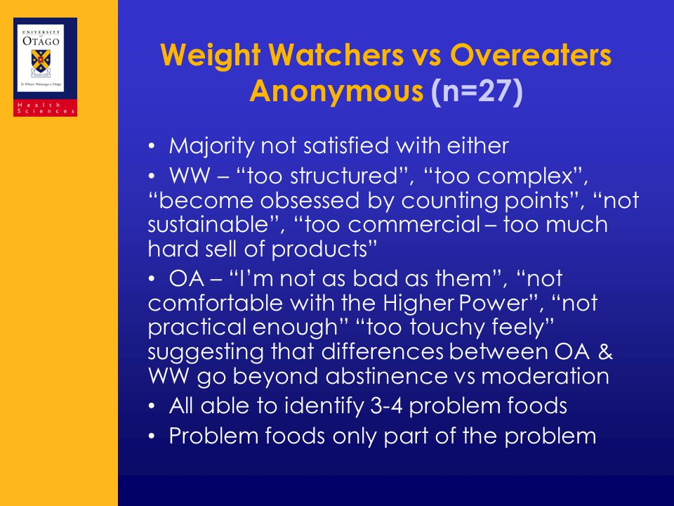 Weight Watchers vs Overeaters Anonymous (n=27) Majority not satisfied with either WW – too structured , too complex , become obsessed by counting points , not sustainable , too commercial – too much hard sell of products OA – I'm not as bad as them , not comfortable with the Higher Power , not practical enough too touchy feely suggesting that differences between OA & WW go beyond abstinence vs moderation All able to identify 3-4 problem foods Problem foods only part of the problem