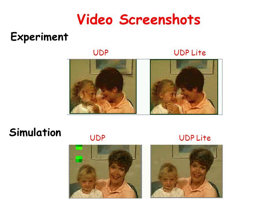 Video Screenshots UDP UDP Lite Experiment Simulation UDP UDP Lite