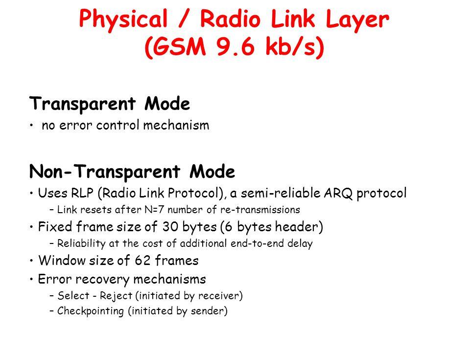 Transparent Mode no error control mechanism Non-Transparent Mode Uses RLP (Radio Link Protocol), a semi-reliable ARQ protocol – Link resets after N=7
