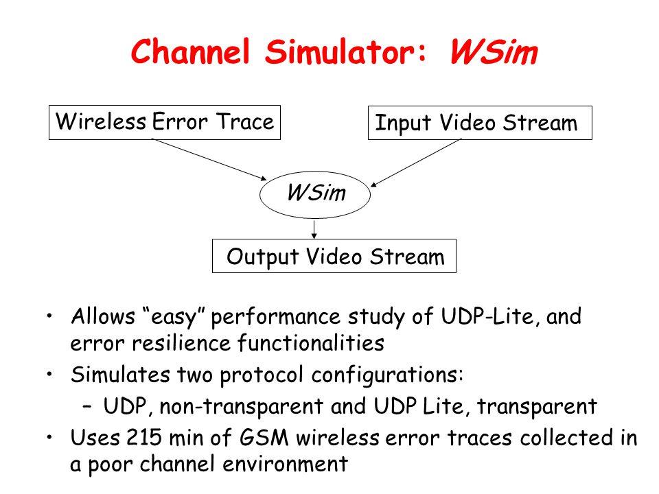 "Channel Simulator: WSim WSim Wireless Error Trace Input Video Stream Output Video Stream Allows ""easy"" performance study of UDP-Lite, and error resili"