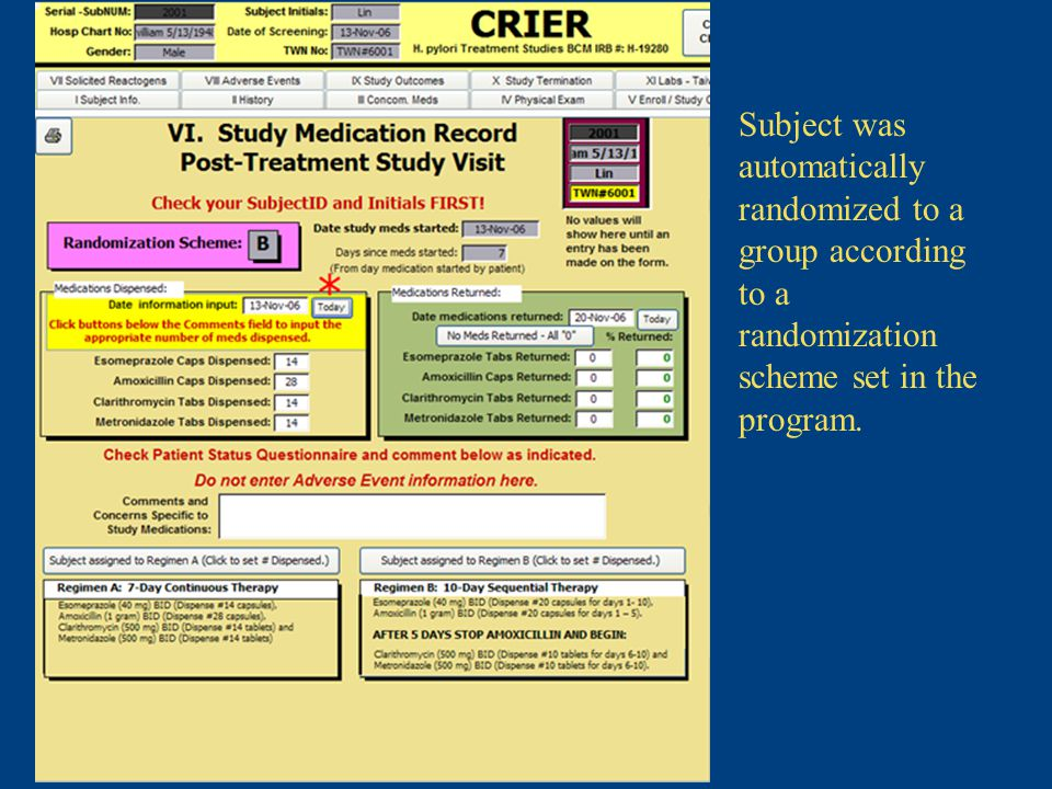 Subject was automatically randomized to a group according to a randomization scheme set in the program.