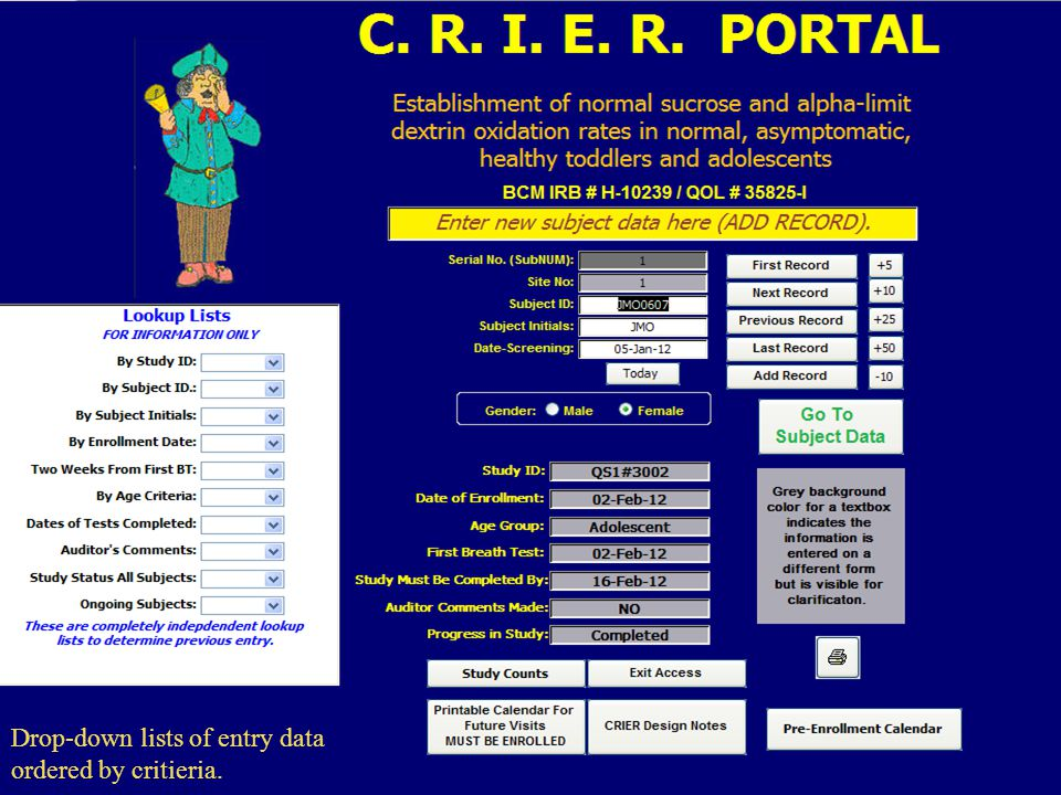 Drop-down lists of entry data ordered by critieria.