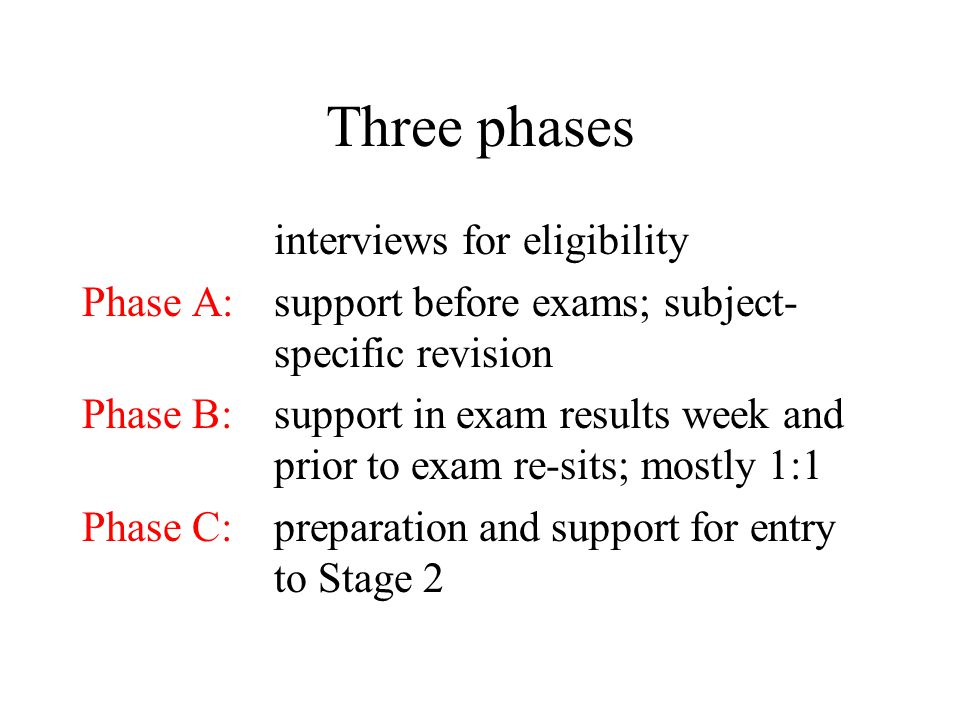 Three phases interviews for eligibility Phase A:support before exams; subject- specific revision Phase B:support in exam results week and prior to exam re-sits; mostly 1:1 Phase C:preparation and support for entry to Stage 2