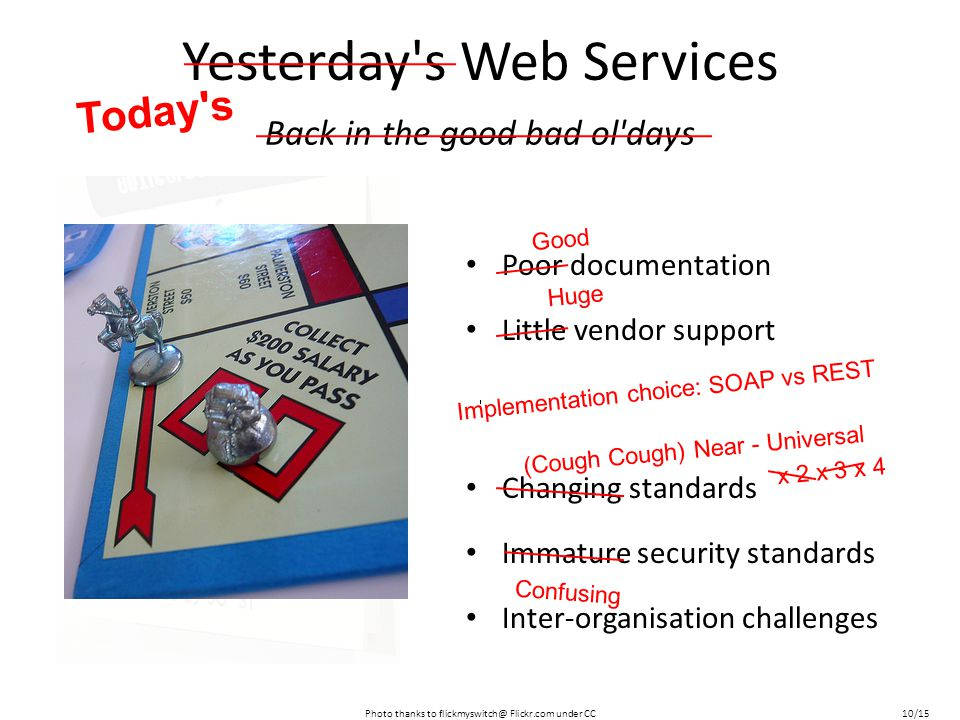 Yesterday s Web Services Poor documentation Little vendor support Changing standards Immature security standards Inter-organisation challenges Back in the good bad ol days Photo thanks to flickmyswitch@ Flickr.com under CC Today s 10/15 (Cough Cough) Near - Universal x 2 x 3 x 4 Good Huge Implementation choice: SOAP vs REST Confusing