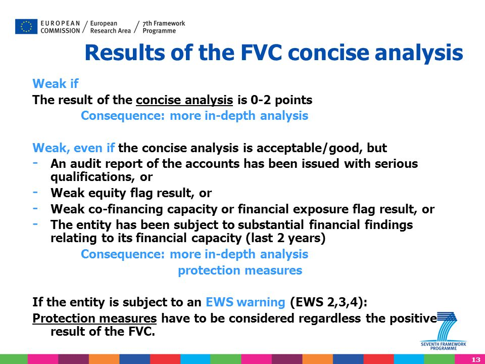 13 Results of the FVC concise analysis Weak if The result of the concise analysis is 0-2 points Consequence: more in-depth analysis Weak, even if the