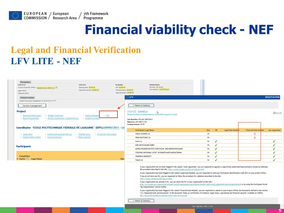5 Legal and Financial Verification LFV LITE - NEF Financial viability check - NEF