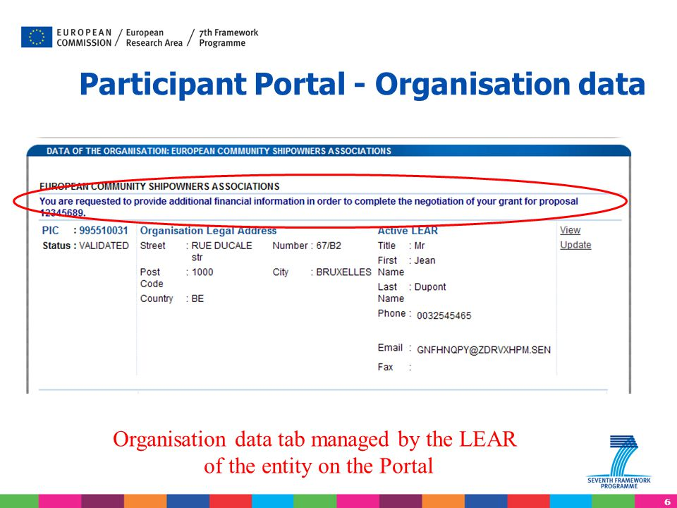 6 Participant Portal - Organisation data Organisation data tab managed by the LEAR of the entity on the Portal