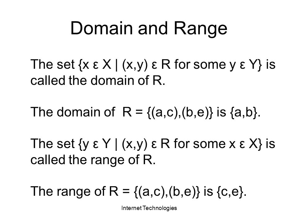 Internet Technologies The set {x ε X | (x,y) ε R for some y ε Y} is called the domain of R.