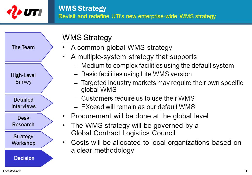 8 October 20046 WMS Strategy Revisit and redefine UTi's new enterprise-wide WMS strategy High-Level Survey Detailed Interviews Desk Research Strategy Workshop Decision The Team WMS Strategy A common global WMS-strategy A multiple-system strategy that supports –Medium to complex facilities using the default system –Basic facilities using Lite WMS version –Targeted industry markets may require their own specific global WMS –Customers require us to use their WMS –EXceed will remain as our default WMS Procurement will be done at the global level The WMS strategy will be governed by a Global Contract Logistics Council Costs will be allocated to local organizations based on a clear methodology