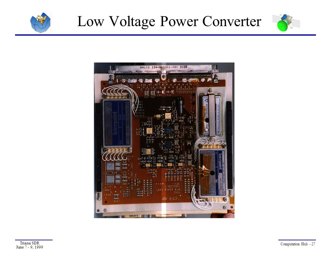 Triana SDR June 7 - 9, 1999 Computation Hub - 27 Low Voltage Power Converter