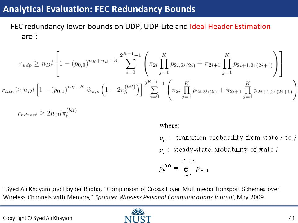 Copyright © Syed Ali Khayam Analytical Evaluation: FEC Redundancy Bounds FEC redundancy lower bounds on UDP, UDP-Lite and Ideal Header Estimation are † : † Syed Ali Khayam and Hayder Radha, Comparison of Crosss-Layer Multimedia Transport Schemes over Wireless Channels with Memory, Springer Wireless Personal Communications Journal, May 2009.