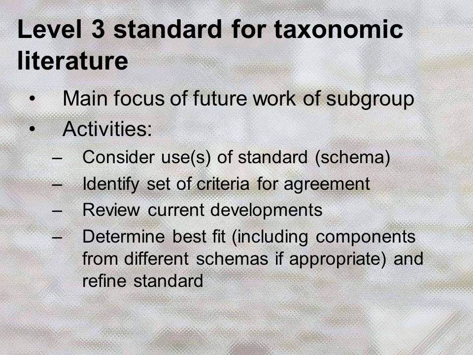 Main focus of future work of subgroup Activities: –Consider use(s) of standard (schema) –Identify set of criteria for agreement –Review current developments –Determine best fit (including components from different schemas if appropriate) and refine standard Level 3 standard for taxonomic literature
