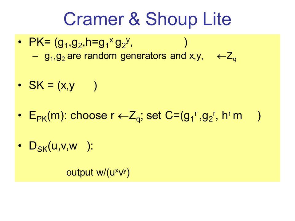 Cramer & Shoup Lite PK= (g 1,g 2,h=g 1 x g 2 y, c= g 1 a g 2 b ) – g 1,g 2 are random generators and x,y,a,b  Z q SK = (x,y,a,b) E PK (m): choose r  Z q ; set C=(g 1 r,g 2 r, h r m, c r ) D SK (u,v,w,e): –If e  u a v b then output  –Else, output w/(u x v y ) Correctness: Easy…