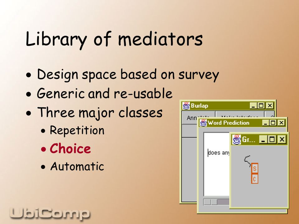 Library of mediators  Design space based on survey  Generic and re-usable  Three major classes  Repetition  Choice  Automatic