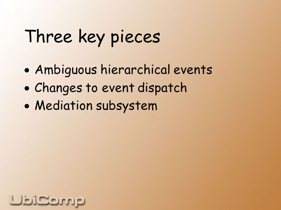 Three key pieces  Ambiguous hierarchical events  Changes to event dispatch  Mediation subsystem