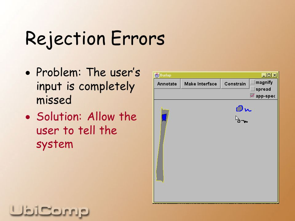 Rejection Errors  Problem: The user's input is completely missed  Solution: Allow the user to tell the system