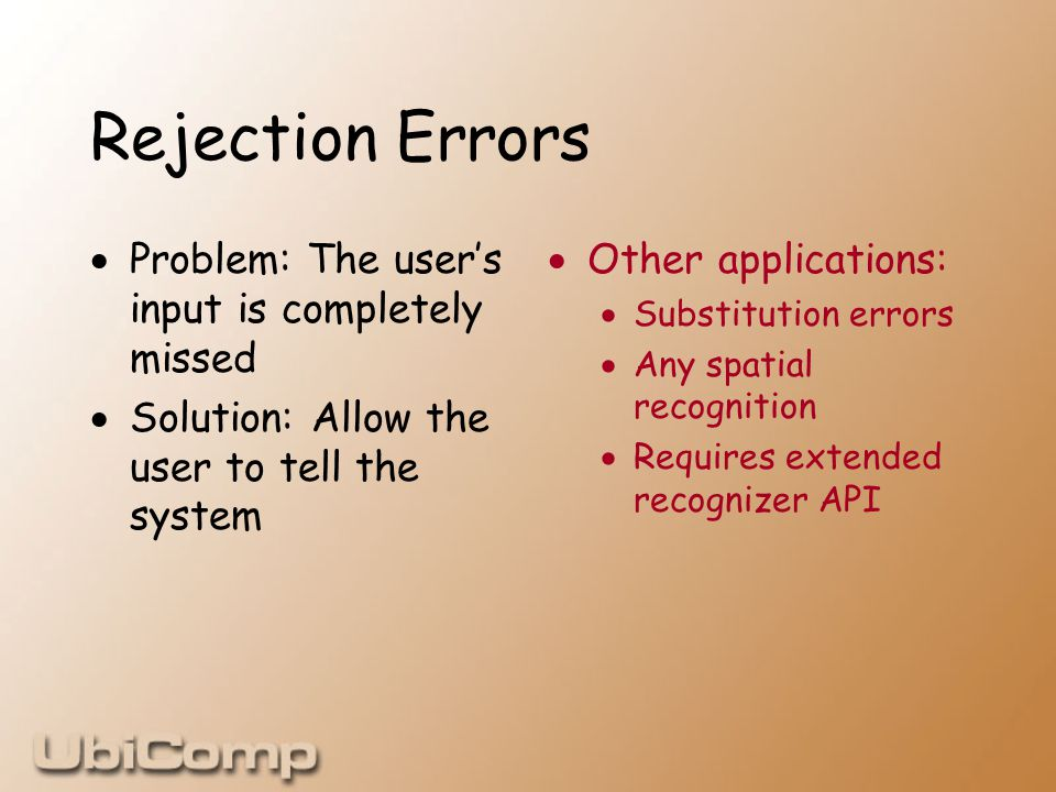 Rejection Errors  Problem: The user's input is completely missed  Solution: Allow the user to tell the system  Other applications:  Substitution errors  Any spatial recognition  Requires extended recognizer API