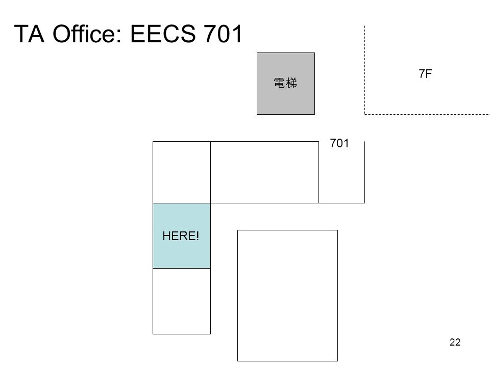 22 TA Office: EECS 701 HERE! 701 電梯 7F