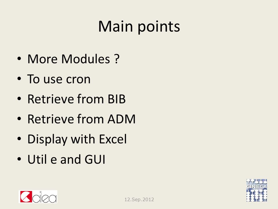 Main points More Modules .
