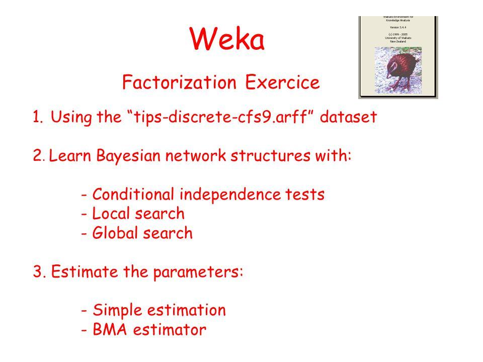 Weka 1.Using the tips-discrete-cfs9.arff dataset 2.