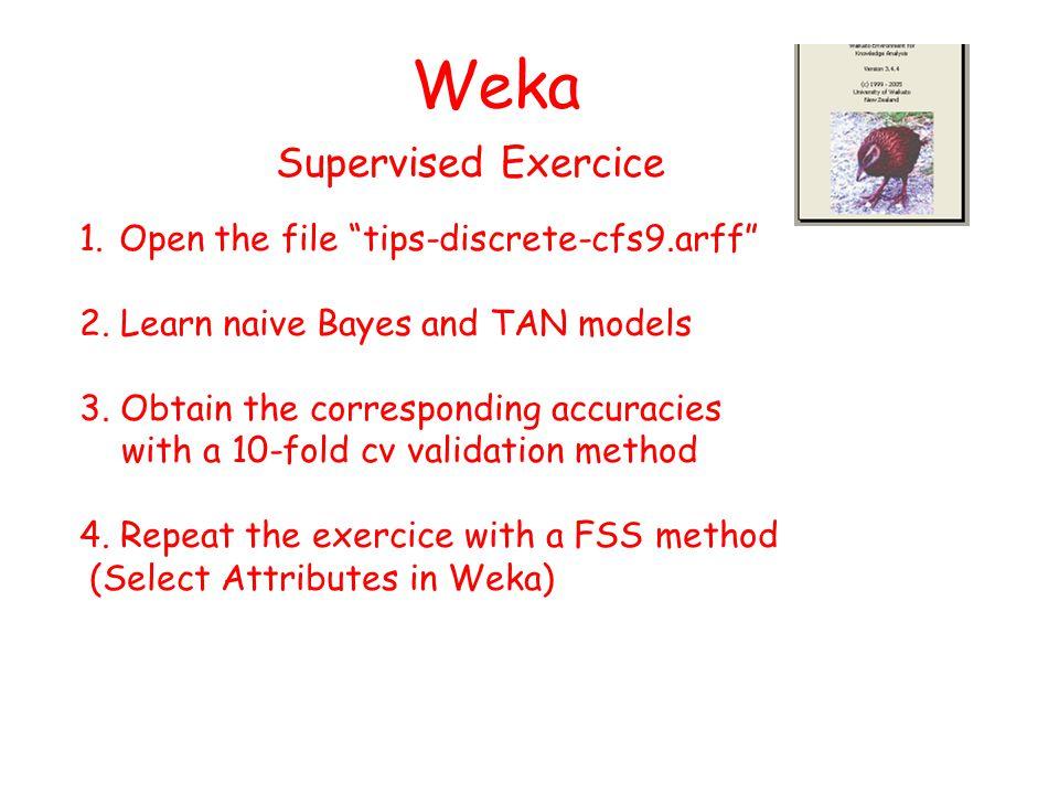 Weka 1.Open the file tips-discrete-cfs9.arff 2. Learn naive Bayes and TAN models 3.