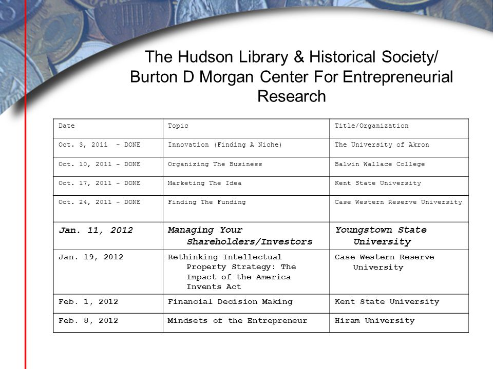 The Hudson Library & Historical Society/ Burton D Morgan Center For Entrepreneurial Research DateTopicTitle/Organization Oct. 3, 2011 - DONEInnovation