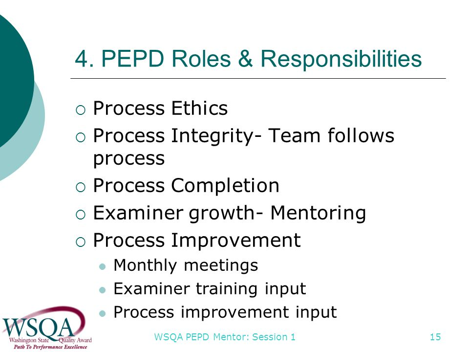 WSQA PEPD Mentor: Session 1 4. PEPD Roles & Responsibilities  Process Ethics  Process Integrity- Team follows process  Process Completion  Examine