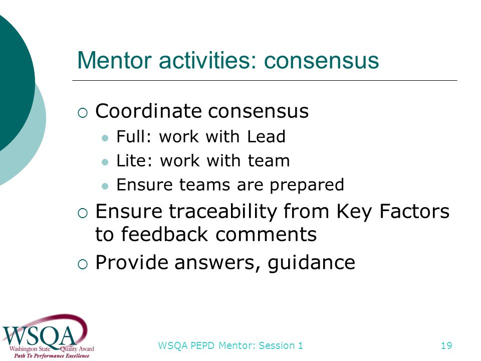 WSQA PEPD Mentor: Session 1 19 Mentor activities: consensus  Coordinate consensus Full: work with Lead Lite: work with team Ensure teams are prepared  Ensure traceability from Key Factors to feedback comments  Provide answers, guidance