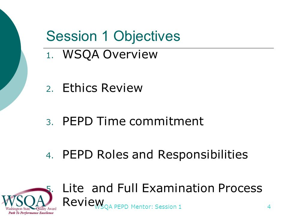 WSQA PEPD Mentor: Session 1 4 Session 1 Objectives 1.