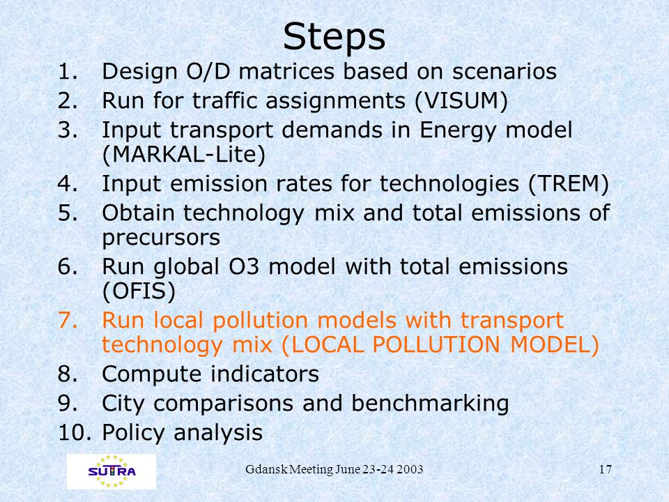 Gdansk Meeting June 23-24 200317 Steps 1.Design O/D matrices based on scenarios 2.Run for traffic assignments (VISUM) 3.Input transport demands in Energy model (MARKAL-Lite) 4.Input emission rates for technologies (TREM) 5.Obtain technology mix and total emissions of precursors 6.Run global O3 model with total emissions (OFIS) 7.Run local pollution models with transport technology mix (LOCAL POLLUTION MODEL) 8.Compute indicators 9.City comparisons and benchmarking 10.Policy analysis