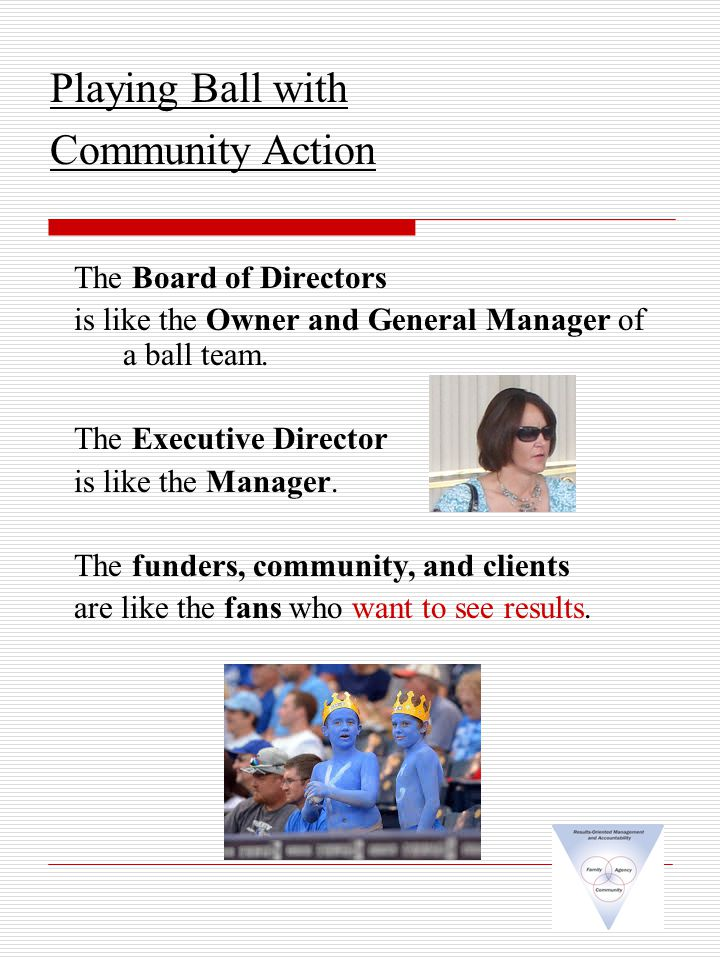 The Board of Directors is like the Owner and General Manager of a ball team.