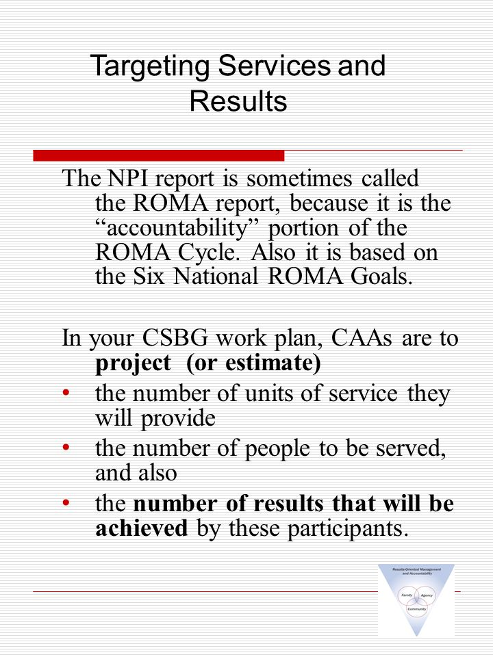 The NPI report is sometimes called the ROMA report, because it is the accountability portion of the ROMA Cycle.